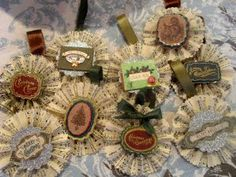 Vintage Christmas ornaments made from sheet music and scrapbook embellishments.  Adorable!