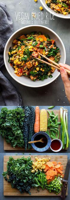#friedrice #vegan #glutenfree #vegetarian #easy #entree #dinner #lunch #rice #tofu #healthy #eggless #eggfree Vegetarian Fried Rice, Rice Recipes Vegan, Vegetarian Lunch, Vegan Recipes Healthy Clean Eating, Healthy Vegan Recipes, Healthy Vegetarian Recipes, Vegan Recipes Easy Healthy, Vegan Rice Dishes, Healthy Fried Rice