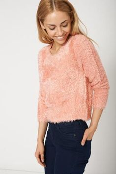 """Warm Soft Fluffy Pink Jumper Sweater Also Available In Plus Sizes Key features: - Super Soft Jumper - Long Sleeves - Comfy Wear Material: - 70% Acrylic - 30% Nylon Measurements: Model is 5' 7"""" and wea"""