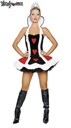 Queen of Hearts Costume. Queen of Hearts costume includes a high collar red, black and white top, matching skirt and crown. It is made of Polyester and Nylon. *Petticoat NOT included and would be needed to achieve the full look. Costumes Sexy Halloween, Queen Of Hearts Halloween Costume, Sexy Adult Costumes, Queen Costume, Costumes For Women, Adult Halloween, Halloween 2016, Bubble Costume, Queen Of Hearts Alice