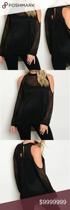 Black Cold Shoulder Shimmer Sheer Top Long sleeve cold shoulder shimmer top with a mock neckline. 50% Polyester 50% Metallic  Made in the USA Tops