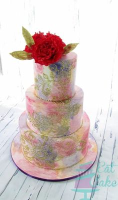 Painted and Hand Piped Cake - Cake by Eat Cake