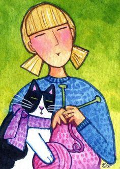 Knitting Cat Lady