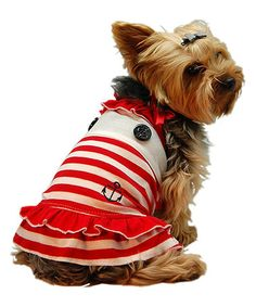 Red Sailor Dog Dress  Outfit your four-legged friend in sweet style with this cotton-blend dog dress.   Cotton / polyester Machine wash Imported dog clothing pets dogs outfits marines navy beach marine sea beachy ocean
