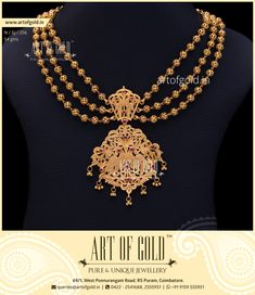An Unique Bridal Antique Necklace with designer chains and antique hand carved pendent. Click to Buy