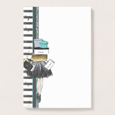 Black Gold Turquoise Shopper with Stack of Gifts Post-it Notes - white gifts elegant diy gift ideas