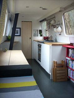 Refurbished '70's narrowboat; I'd like mine to be a bit softer & cozier (& lots more room for books!),