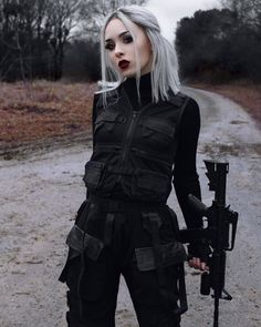 High Waist Trousers With Plastic Buckles « ellee. Grunge Outfits, Edgy Outfits, Anime Outfits, Girl Outfits, Fashion Outfits, Womens Fashion, Badass Women Fashion, Golf Fashion, Mafia Outfit