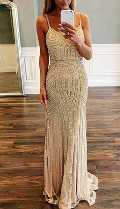 Mermaid Spaghetti Straps Sweep Train Champagne Stretch Satin Prom Dress with Beading
