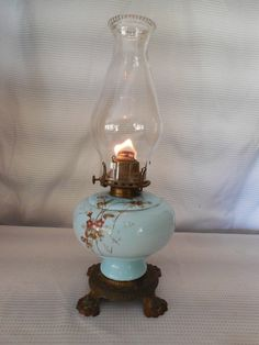 Antique Oil Lamp 1910 Or Older Blue Milk Glass Footed In Cast Metal