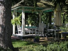 I love to sit in this shady gazebo spot at my folks' B, in the Blue Ridge Mountains of Virginia.