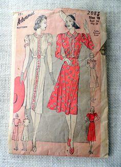 Vintage Pattern Advance 2085 1930s 1940s dress Hip Bust 36