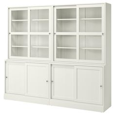 LIATORP Storage combination with doors, white, 108 Are you a romantic at heart? Combine with other furniture in the LIATORP series for a complete, beautiful look. Form Design, Glass Cabinet Doors, Sliding Glass Door, Bookcase With Glass Doors, Liatorp, Table Extensible, Plastic Foil, Ikea Family, Tempered Glass Shelves