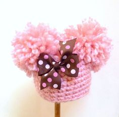 Baby Girl Pom Pom Hat Photo Prop  Newborn  0 3 by ArtsandAccents, $28.00