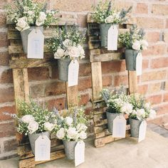 Rustic Wedding Table Plan with Flower Pots - The Wedding of My Dreams