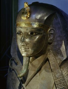 Head of silver coffin of Psusennes I from the royal necropolis at Tanis. Egyptian Museum, Cairo. Werner Forman Archive.
