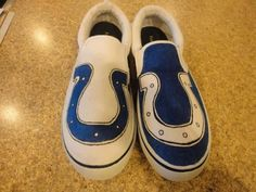 Indianapolis Colts fan Shoes. i need to make a lil pair for baby scarlett