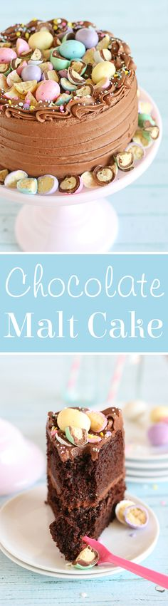 This pretty pastel Chocolate Malt Cake is just perfect for Easter and spring!