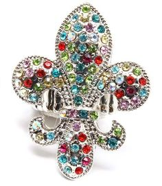 SILVER MULTI COLOR FLEUR DE LIS RIGHT HAND COCKTAIL STRETCH RING FASHION JEWELRY #NINE #Cocktail