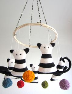 Crib mobile, cats, baby, kittens, black, white, colorful, nursery decor, shower gift, new baby, organic, eco friendly, cosy, stripes. $70.00, via Etsy.