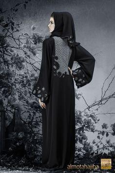 Abaya by Almotahajiba. Winter Collection 2013-2014. Burqa Designs, Abaya Designs, Abaya Fashion, Muslim Fashion, Kaftan Abaya, Kaftans, Hijab Collection, Winter Collection, Hijab Fashionista