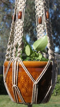 ENCHANTMENT - Handmade Macrame Plant Hanger Holder with Wood Beads - 4mm Braided Poly Cord in PEARL