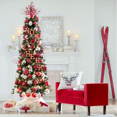 "A space-saving Christmas tree that goes where others can't – perfect for small apartments! This lush, slim beauty features 465 3"" tips, 200 clear UL lights and a handy metal stand. Get festive in any size space!   Dimensions: 7'H x 32"" Diam. PVC/steel/copper Assembly (ornaments not included) Imported"