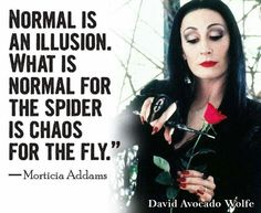 One of my all time favorite characters and the saying is actually pretty freakin awesome as well! Lol  The point: what's normal? Lol   Just be you!      #illusion #morticia #chaos
