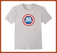 Mens Big Brother, Superhero Shield T-shirt Large Silver - Relatives and family shirts (*Partner-Link)