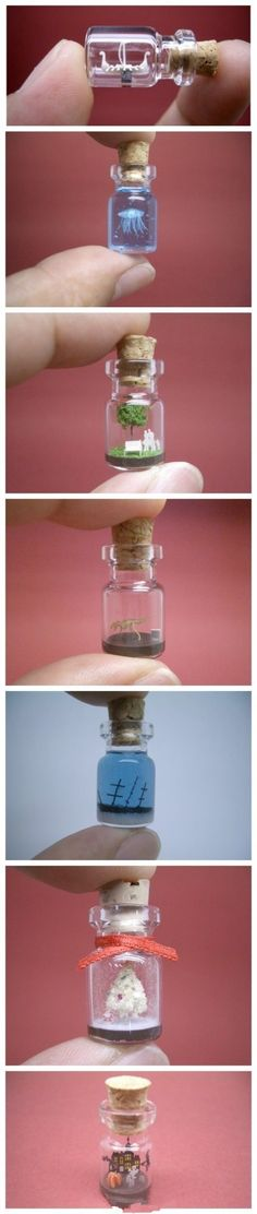micro-sculptures/tiny world in a bottle by Japanese artist Akinobu Izumi