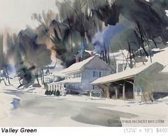"""Valley Green"" by Paul Rickert.  This is a nice example of preserving whites and using negative space to create structures!"
