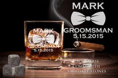 Monogram Whiskey Glass Sets with 3 Whiskey Stones – Cool Whiskey Glass Gift Set Whiskey Glasses, Whiskey Bottle, Whiskey Gift Set, Gifts For Wedding Party, Party Gifts, Black Gift Boxes, Groomsman Gifts, Groomsmen, Stones