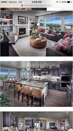 Kitchen and living room. The views are real.