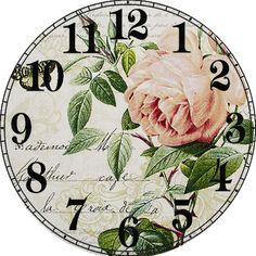 Flower Background Wallpaper, Flower Backgrounds, Decoupage Vintage, Vintage Maps, Shabby Chic Clock, Clock Flower, Decoupage Printables, Christmas Snow Globes, Clock Art