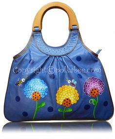 f31f1ccad3ca Items similar to Polka Bee - Hand Painted Bag on Etsy