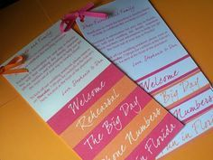 Welcome Letter and Itinerary - Write a note to welcome your guests and invite them to any activities you have planned such as after-parties or brunches. Remind them of your ceremony and reception times as well as any shuttle arrangements you've made. Having these details together in one place will keep everyone informed and on time.