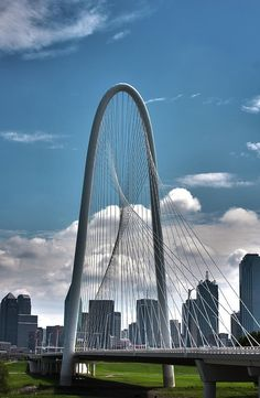 Margaret Hunt Hill Bridge and Dallas Skyline by Eugene Campbell Bridges Architecture, Cable Stayed Bridge, Trinity River, Dallas Skyline, Mid Afternoon, Santiago Calatrava, Dallas Texas, Fine Art Photography, Entrepreneur