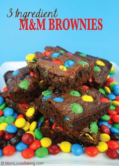 Just 3 ingredients! That's my favorite kind of recipe. Nutella, flour and eggs. That's it. Plus, the M&M's for an added crunch and pop of color.