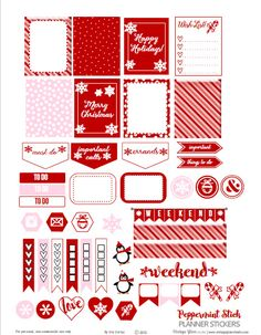 Free Printable Peppermint Stick Planner Stickers from Vintage Glam Studio