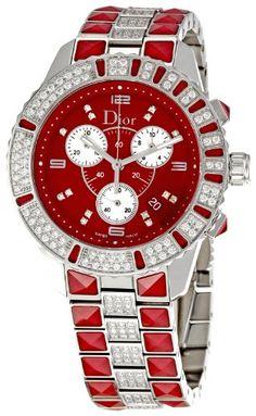 ♡ Red Watches ♡ Christian Dior Women`s Christal Stainless-Steel Bracelet Watch Christian Dior, Cartier, Rolex, Fashion Watches, Dior Watches, Ladies Watches, Red Watches, Diamond Watches, Patek Philippe