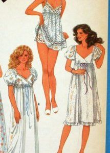 Simplicity 6468 Misses' Nightgown in Two Lengths and Baby Dolls Lingerie Sewing Pattern Vintage 1984 Doll Sewing Patterns, Simplicity Sewing Patterns, Vintage Sewing Patterns, Clothing Patterns, Dress Patterns, Vintage Nightgown, Vintage Dresses, Pyjamas, Nightgown Pattern