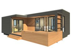 mini home DUO 36 + 12 small wooden house with patio and a lot of glass
