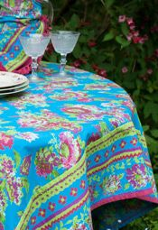 Jordan Tablecloth In Turquoise By April Cornell