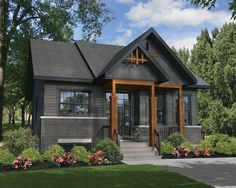 Rustic house plans - Plan Rustic Two Bedroom Getaway Black House Exterior, Rustic Exterior, House Paint Exterior, Exterior House Colors, Outside House Paint Colors, Black Windows Exterior, Farmhouse Exterior Colors, Grey Exterior, Rustic Home Exteriors
