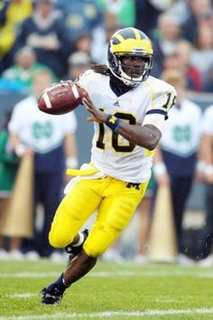 UM QB Denard Robinson #16.  2009-2012. Denard is remembered as an electrifying runner, but he also accounted 6250 yards passing in his career.