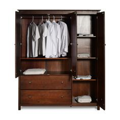 Shop for Grain Wood Furniture Shaker Solid Wood Armoire Cherry Finish. Get free delivery On EVERYTHING* Overstock - Your Online Furniture Shop! Wardrobe Room, Diy Wardrobe, Wardrobe Cabinets, Wardrobe Design, Armoire Wardrobe, Mirrored Wardrobe, Bedroom Cabinets, Sliding Wardrobe, Wood Furniture
