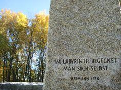 Granite obelisk and colourful leaves  Bilingual Blah Blah: Im Labyrinth