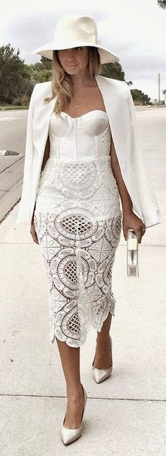 White lace midi dress with push up top and adjustable straps.