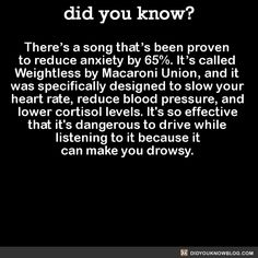 There's a song that's been proven to reduce anxiety by 65%. It's called Weightless by Macaroni Union, and it was specifically designed to slow your heart rate, reduce blood pressure, and lower cortisol levels. It's so effective that it's dangerous to...