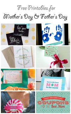 Free Printables for Mother's Day and for Father's Day | CatchMyParty.com